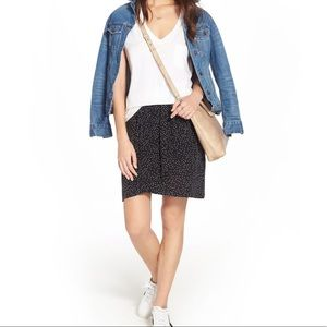 Madewell 100% silk faux wrap front skirt